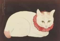 Japanese School, 20th Century  Lot of Two Prints Including: White Cat with a Red Collar and Chasing the Yarn Ball