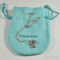 Tiffany & Co. Paloma Picasso 18kt White Gold and Pink Sapphire Heart Necklace