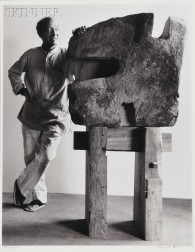 Arthur Mones (American, 1919-1998)      Portrait of Isamu Noguchi with Sculpture.
