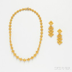 High karat Gold Necklace and Earpendants