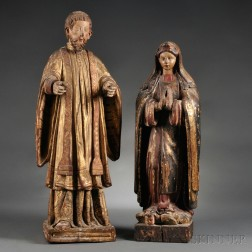 Two Continental Carved Wood and Gesso Ecclesiastic Figures