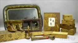 Group of Decorative Wooden Items and a Tole Tray