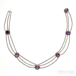 Antique Silver and Amethyst Necklace