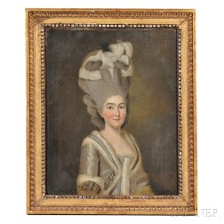 French School, 18th Century Style      Portrait of a Fashionable Woman in Gray