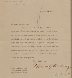 Harding, Warren (1865-1923) Typed Letter, Signed, 9 April 1923.