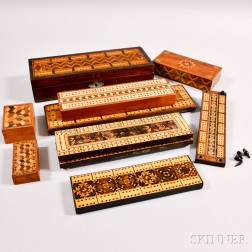 Six Cribbage Boards, Two Board/Boxes, and Two Tunbridgeware Boxes