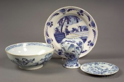 Four Delft Blue and White Earthenware Table Articles