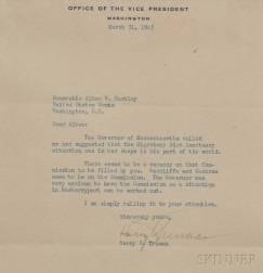 Truman, Harry S. (1884-1972) Typed Letter, Signed, 31 March 1945.