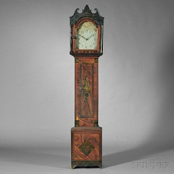 Paint-decorated and Gilt-stenciled Tall Case Clock