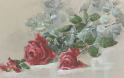 Henrietta Dunn Mears (American, b. 1877)  Still Life with Red Roses