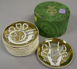Boxed Set of Eight Fornasetti Musicalia Transfer Decorated Porcelain Dishes