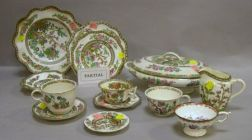 Assembled Set of Approximately 140 Pieces of English Indian Tree Pattern Ceramic   Tableware