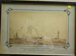 Victorian Framed Photo of the Schooner Yacht Columbia;
