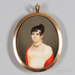 Joseph Veyrier (active Philadelphia, 1813-1817)      Portrait Miniature of a Woman Wearing a White Dress and a Red Shawl.