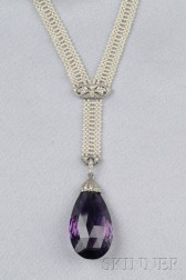 Art Deco Platinum, Amethyst, Seed Pearl, and Diamond Sautoir
