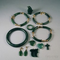 Group of Green Stone or Jade Jewelry