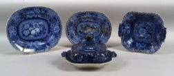 Four Blue Transfer Decorated Staffordshire Pottery Serving Dishes