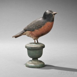 Carved and Painted Robin Figure on Stand