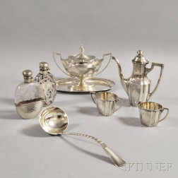 Six Sterling Hollowware Articles and two Flasks