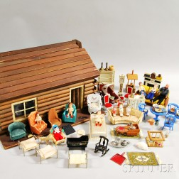 Log Cabin Doll House, Doll Furniture, and Dolls.     Estimate $200-250