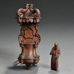 Carved Fruitwood Font and Monk Figure