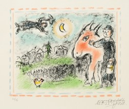 Marc Chagall (Russian/French, 1887-1985)      Village à l'âne rouge