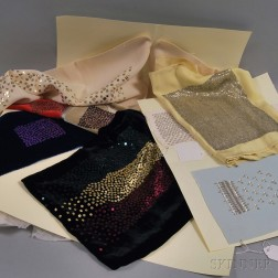 Forty-six Beaded Wool, Silk, and Jersey Knit Design Swatches