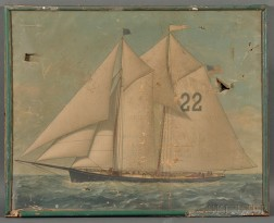 American School, late 19th Century      Portrait of a the Pilot Boat Washington.