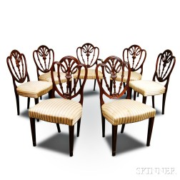 Set of Eight Federal-style Carved and Inlaid Mahogany Dining Chairs