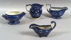 Four Assorted Blue Transfer Decorated Staffordshire Pottery Serving Pieces