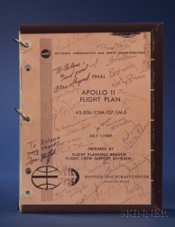 N.A.S.A. Final Apollo 11 Flight Plan with Astronauts' Signatures