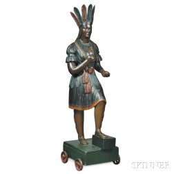 Carved and Polychrome Indian Princess Tobacconist Figure