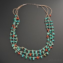 Pueblo Turquoise, Coral, and Heishi Necklace