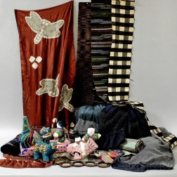 Group of Japanese Textiles, Door Pulls, and Toys