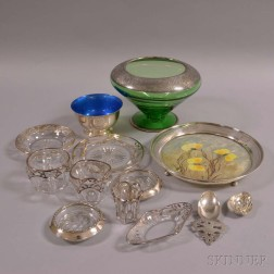 Group of Sterling Silver and Glass and Silver Overlay Tableware