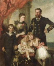 British School, 19th Century  Duke and Duchess of Edinburgh with Prince Alfred and Two of Their Daughters.