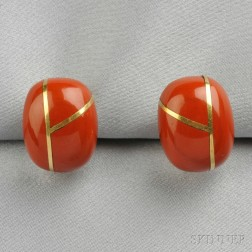 18kt Gold and Jasper Earclips, Tiffany & Co.