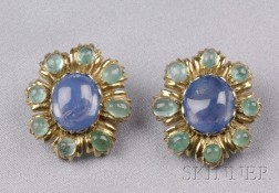 18kt Gold, Sapphire, and Emerald Earclips, Buccellati