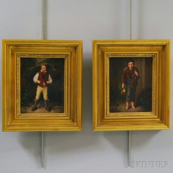 American School, 19th Century Style      Pair of Paintings of Boys:  Barefoot Boy with Vegetables