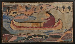 Hooked Rug with a Native American in a Canoe