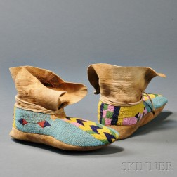 Pair of Plateau Beaded Hide Moccasins