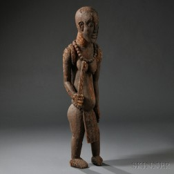 Rare African Carved Wood Commemorative Statue