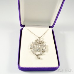French Platinum and Diamond Lavaliere