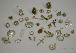 Group of Mostly Sterling Silver Jewelry and Novelties.