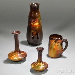 Four Owens and Roseville Pottery Items