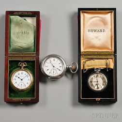Two Boxed Howard Watches With Papers and a Coin Silver Howard