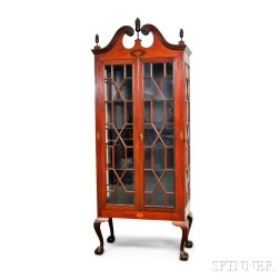 Chippendale-style Inlaid Mahogany Glazed Cabinet