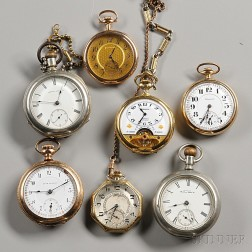 Three Waltham and Four Other Open Face Watches