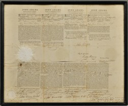 Adams, John (1735-1826) Four Language Ship's Passport, Signed, 12 January 1799, as President.