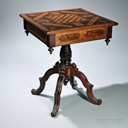 Victorian Parquetry and Carved Rosewood and Tiger Maple Games Table